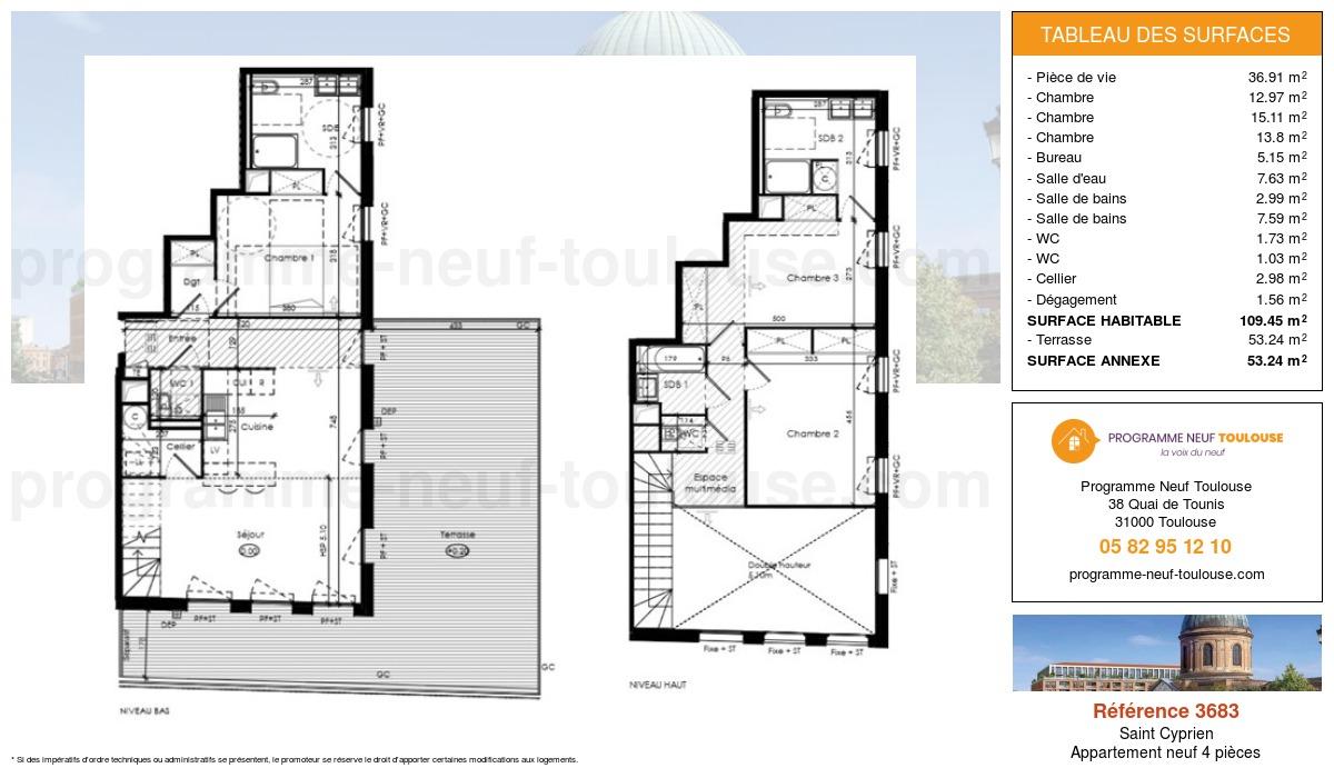Plan pour un Appartement neuf de  109.45m² à Saint Cyprien
