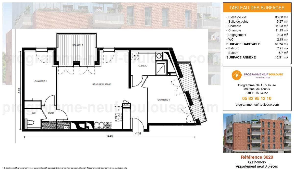 Plan pour un Appartement neuf de  69.74m² à Guilheméry