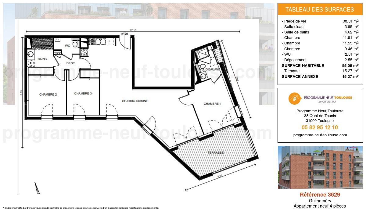 Plan pour un Appartement neuf de  85.06m² à Guilheméry