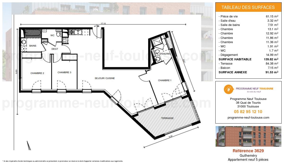 Plan pour un Appartement neuf de  139.82m² à Guilheméry