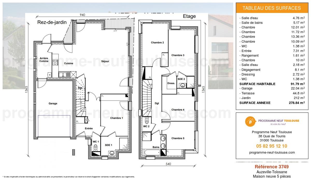 Plan pour un Maison neuve de  142.14m² à Auzeville-Tolosane