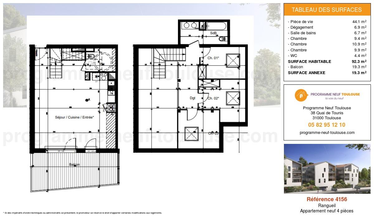 Plan pour un Appartement neuf de  92.3m² à Rangueil
