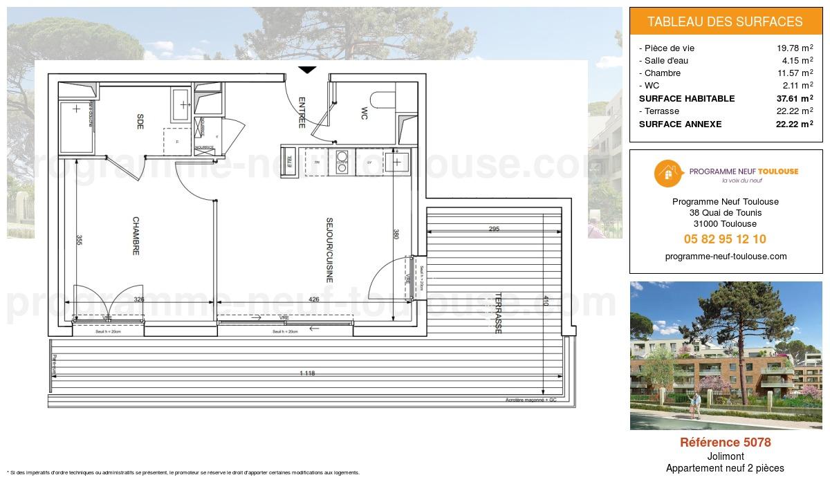 Plan pour un Appartement neuf de  37.61m² à Jolimont