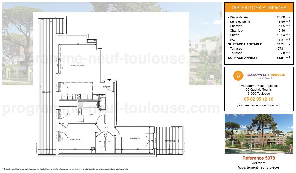Plan pour un Appartement neuf de  69.74m² à Jolimont
