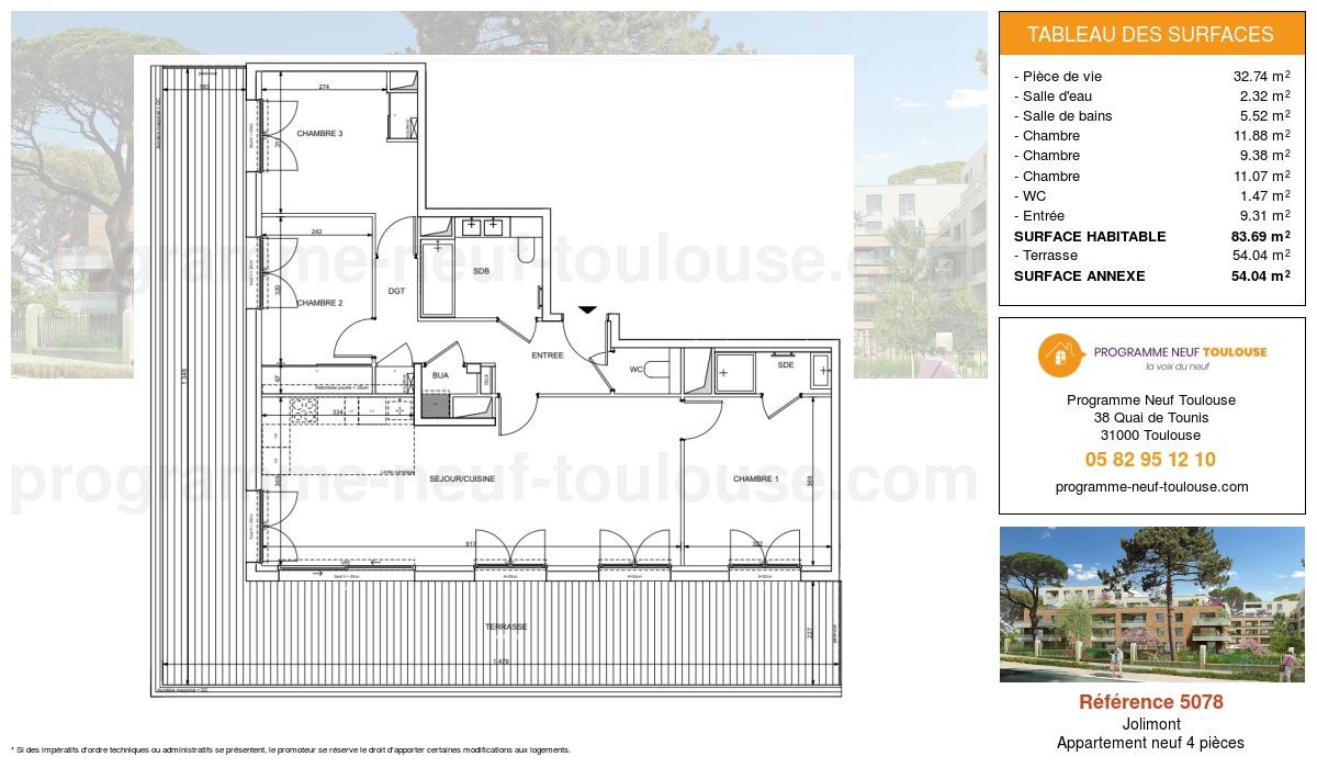 Plan pour un Appartement neuf de  83.69m² à Jolimont