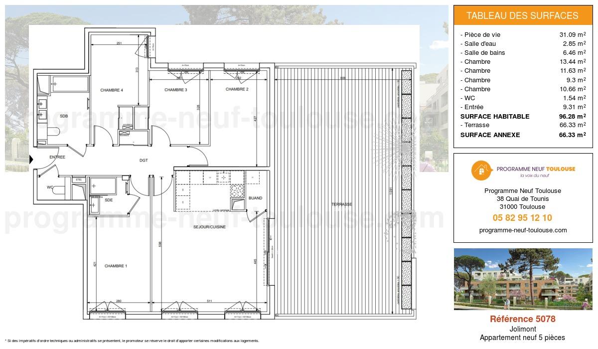 Plan pour un Appartement neuf de  96.28m² à Jolimont