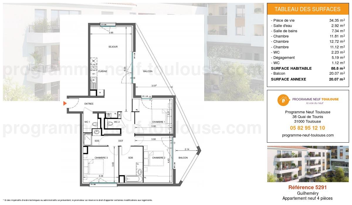 Plan pour un Appartement neuf de  88.8m² à Guilheméry