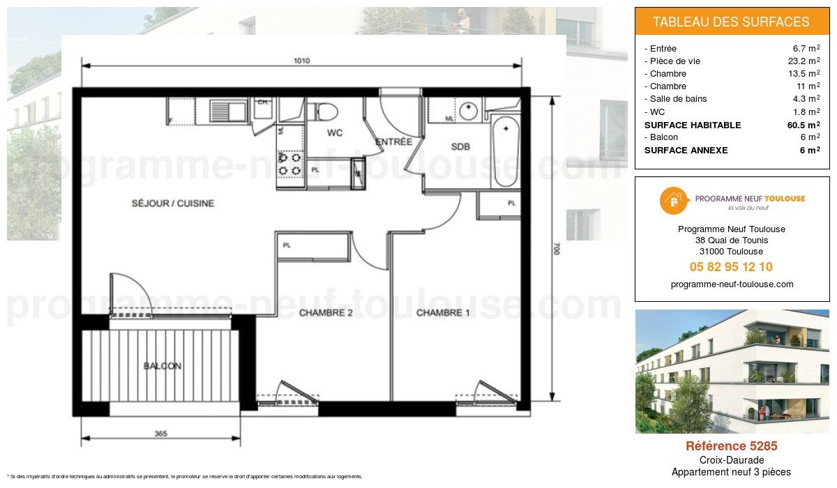 Plan pour un Appartement neuf de  60.5m² à Croix-Daurade