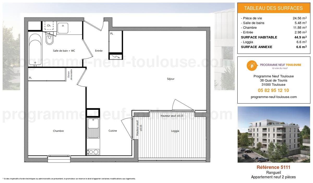 Plan pour un Appartement neuf de  44.9m² à Rangueil