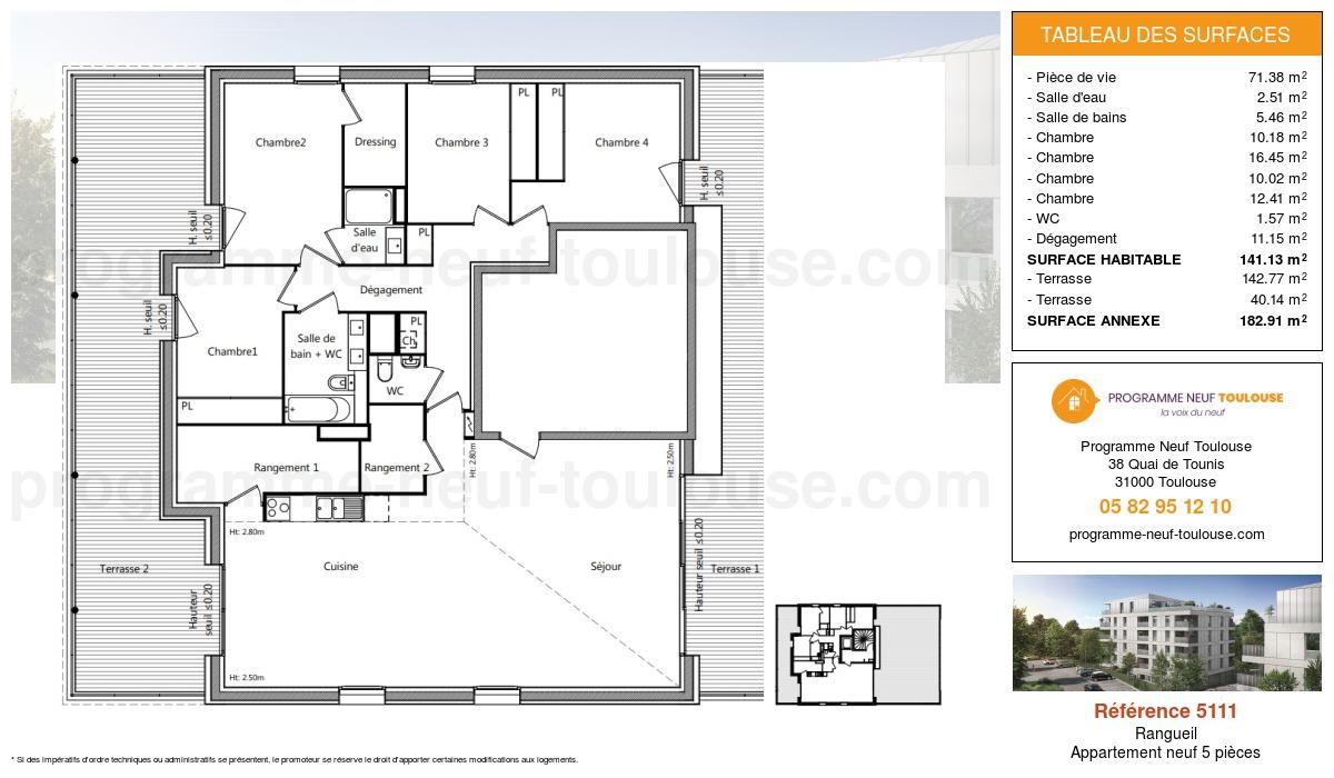 Plan pour un Appartement neuf de  141.13m² à Rangueil