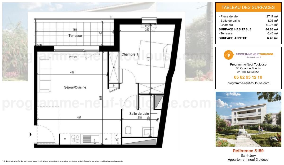Plan pour un Appartement neuf de  44.28m² à Saint-Jory
