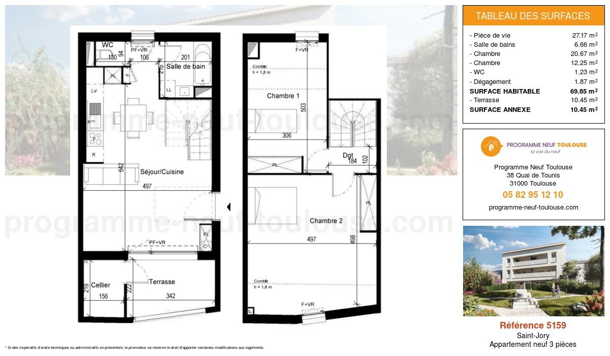 Plan pour un Appartement neuf de  73.12m² à Saint-Jory