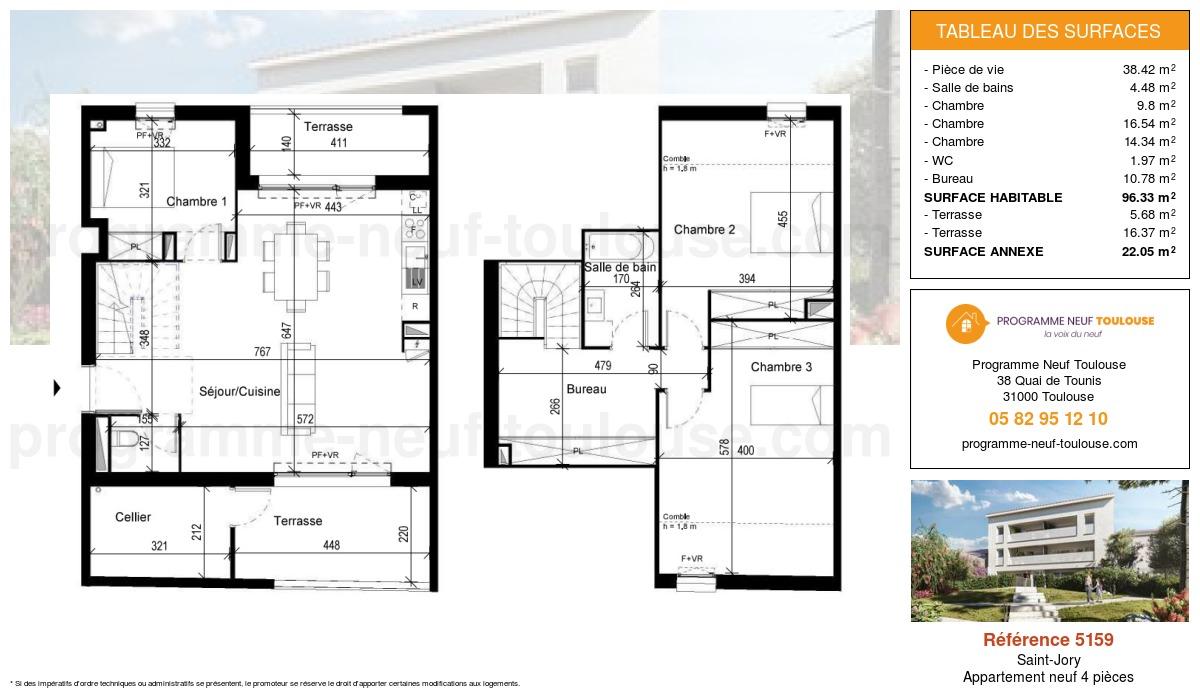 Plan pour un Appartement neuf de  96.33m² à Saint-Jory