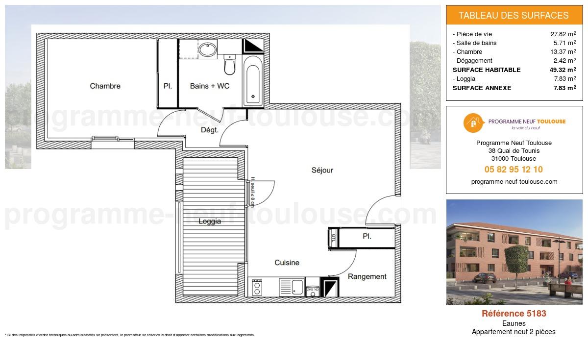 Plan pour un Appartement neuf de  49.32m² à Eaunes