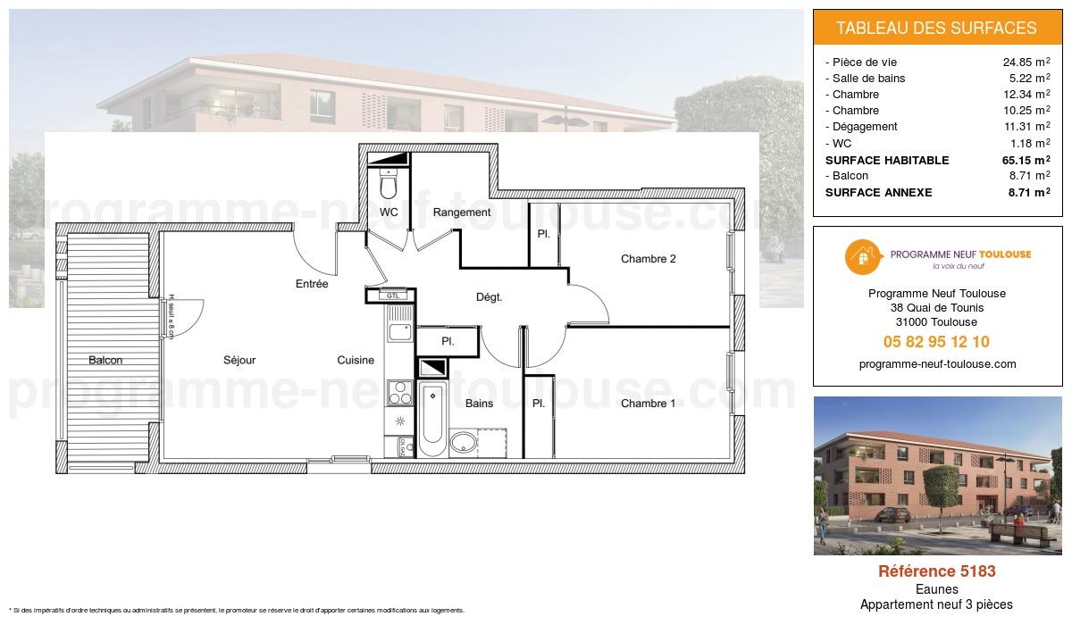 Plan pour un Appartement neuf de  65.15m² à Eaunes