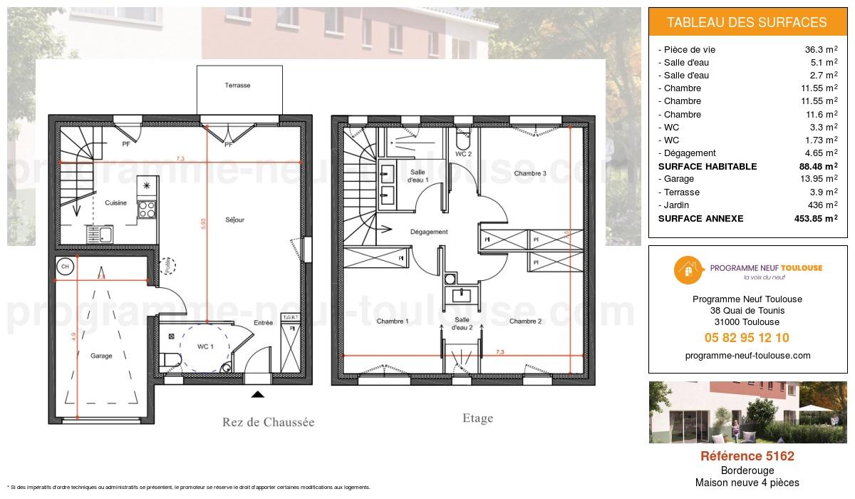 Plan pour un Maison neuve de  88.48m² à Borderouge