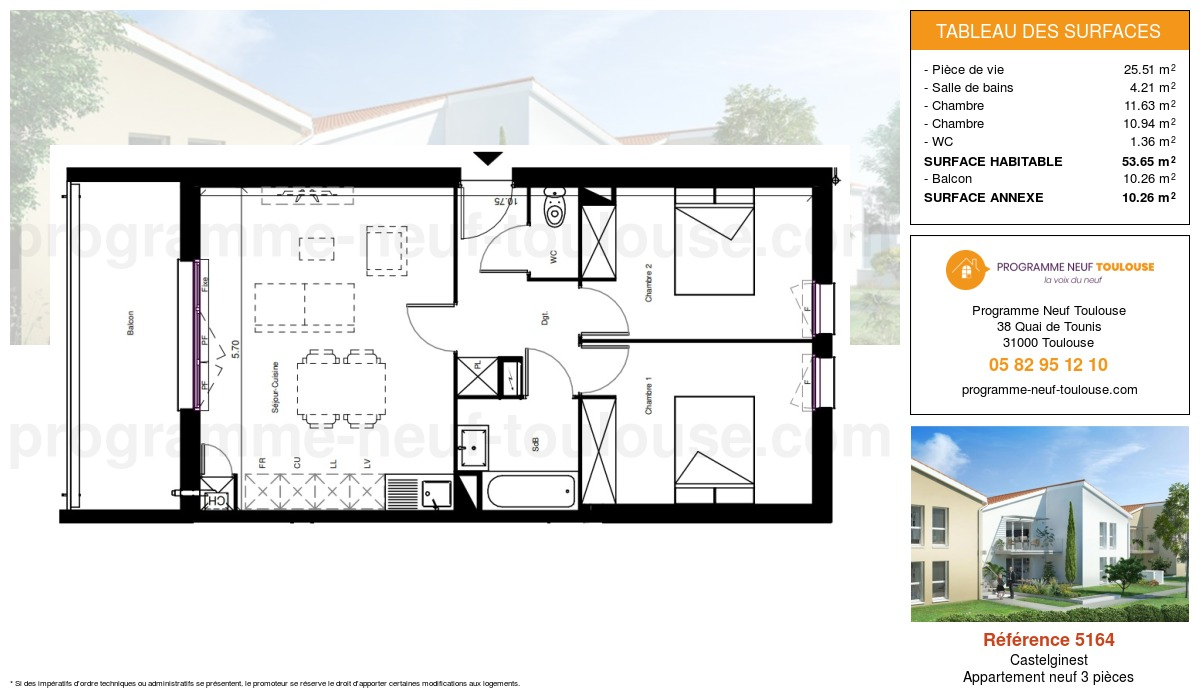 Plan pour un Appartement neuf de  60m² à Castelginest