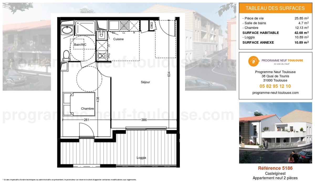 Plan pour un Appartement neuf de  42.68m² à Castelginest