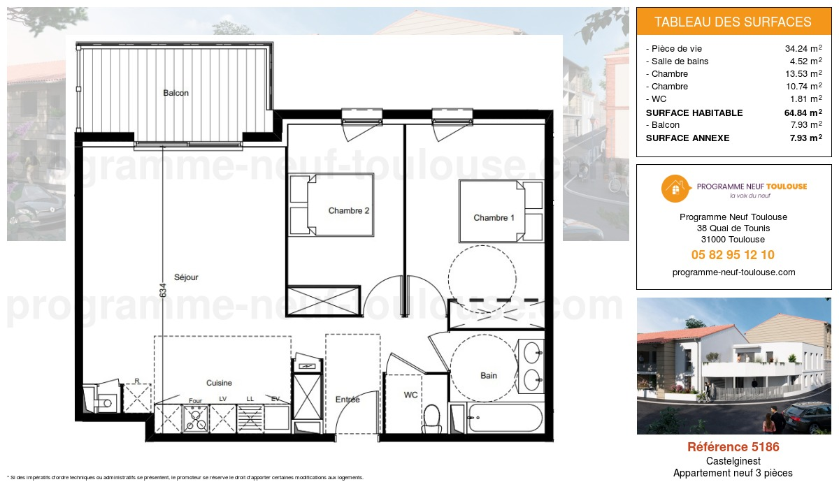 Plan pour un Appartement neuf de  64.84m² à Castelginest