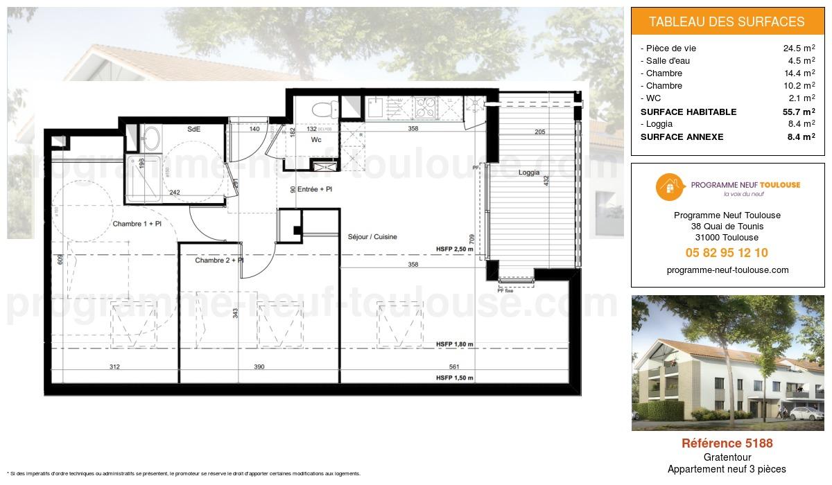 Plan pour un Appartement neuf de  61.4m² à Gratentour