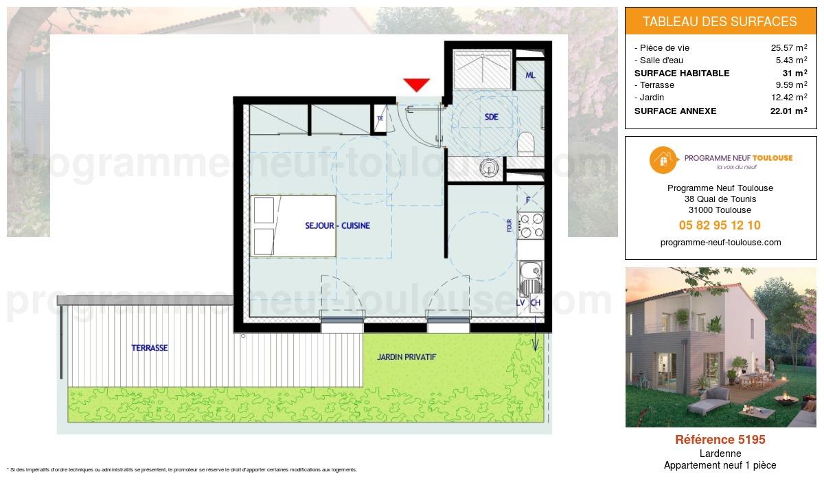 Plan pour un Appartement neuf de  31m² à Lardenne