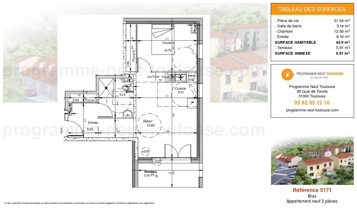 Plan pour un Appartement neuf de  44.9m² à Brax