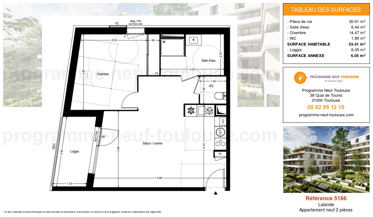 Plan pour un Appartement neuf de  53.41m² à Lalande