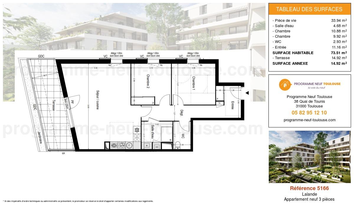 Plan pour un Appartement neuf de  73.51m² à Lalande