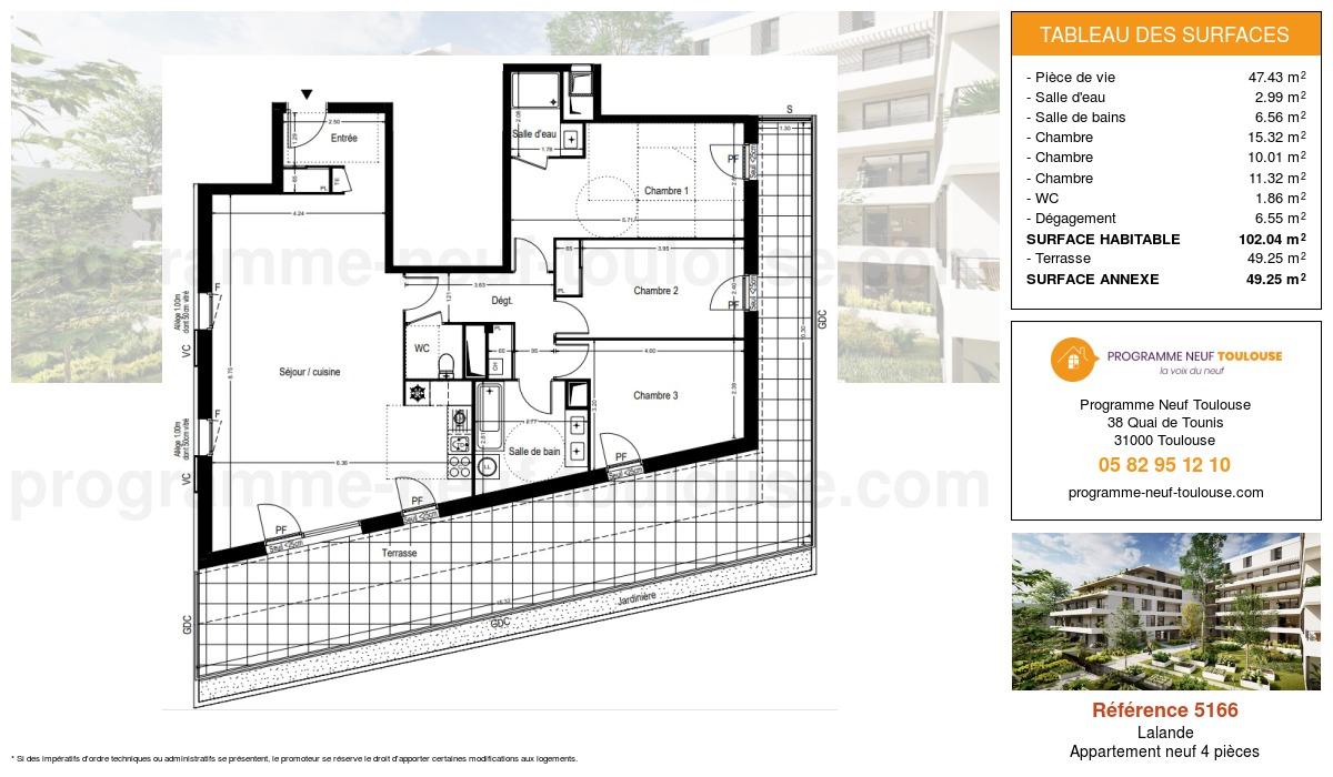 Plan pour un Appartement neuf de  102.04m² à Lalande