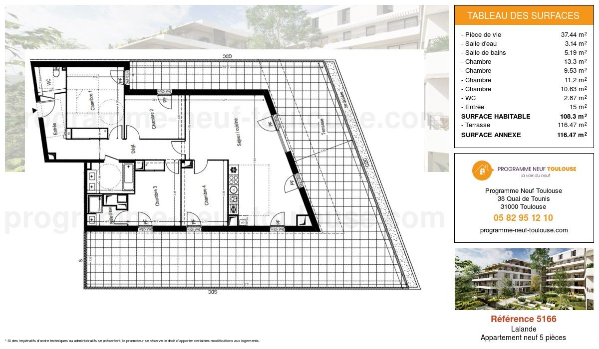 Plan pour un Appartement neuf de  108.3m² à Lalande