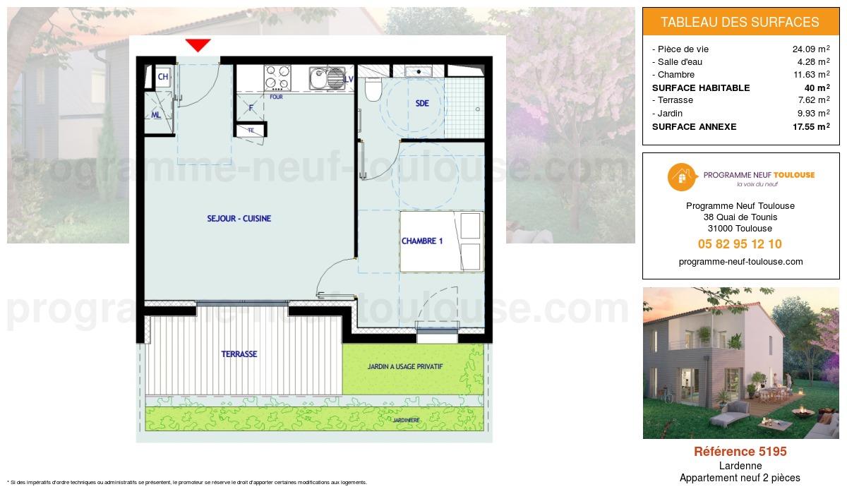 Plan pour un Appartement neuf de  40m² à Lardenne