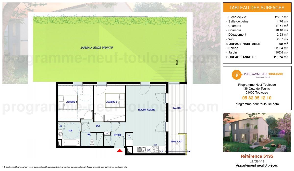 Plan pour un Appartement neuf de  60m² à Lardenne