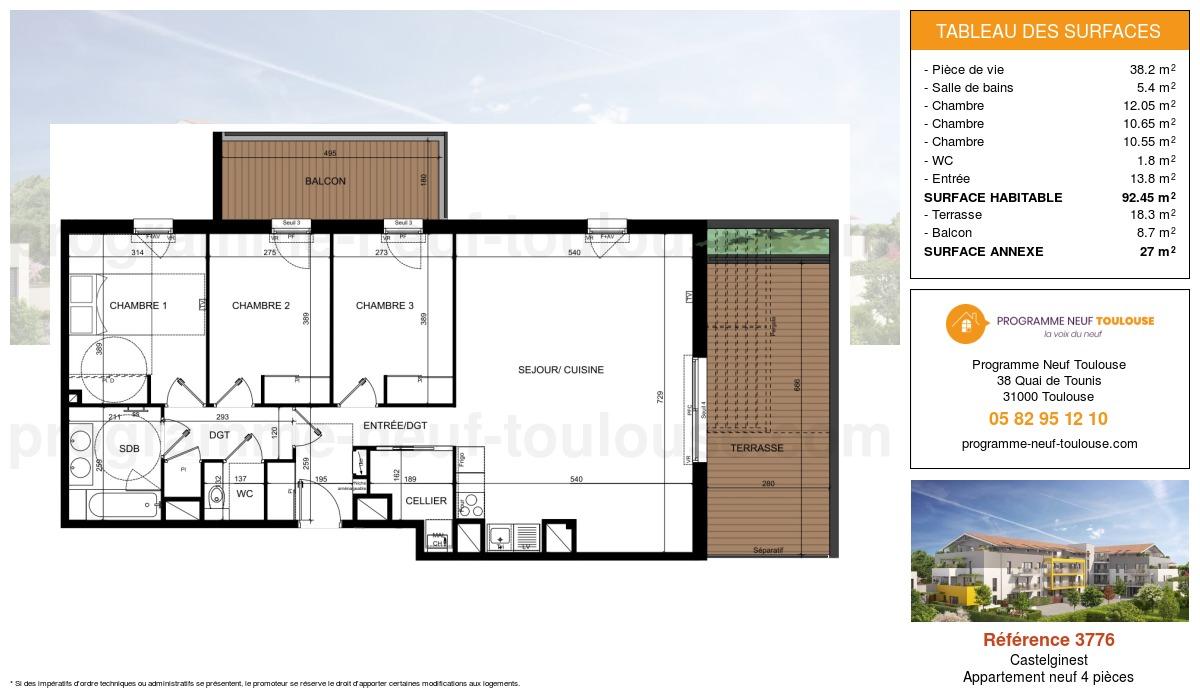Plan pour un Appartement neuf de  92.45m² à Castelginest