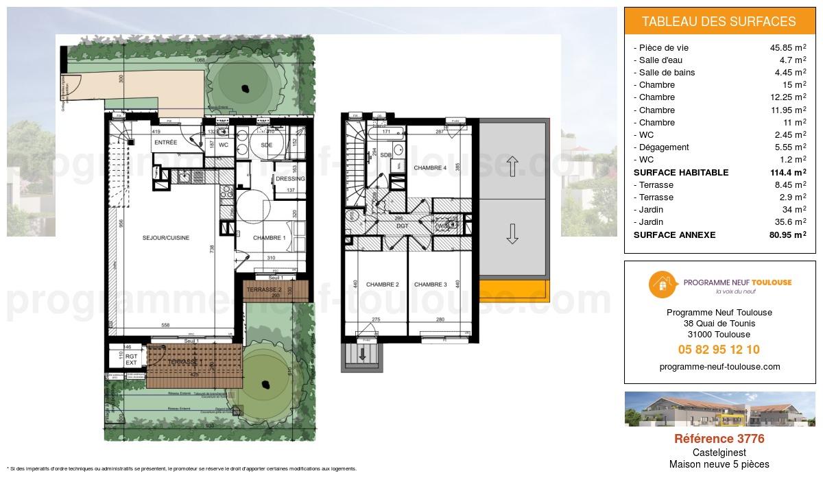 Plan pour un Maison neuve de  114.4m² à Castelginest