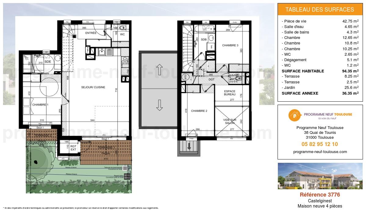 Plan pour un Maison neuve de  99.3m² à Castelginest