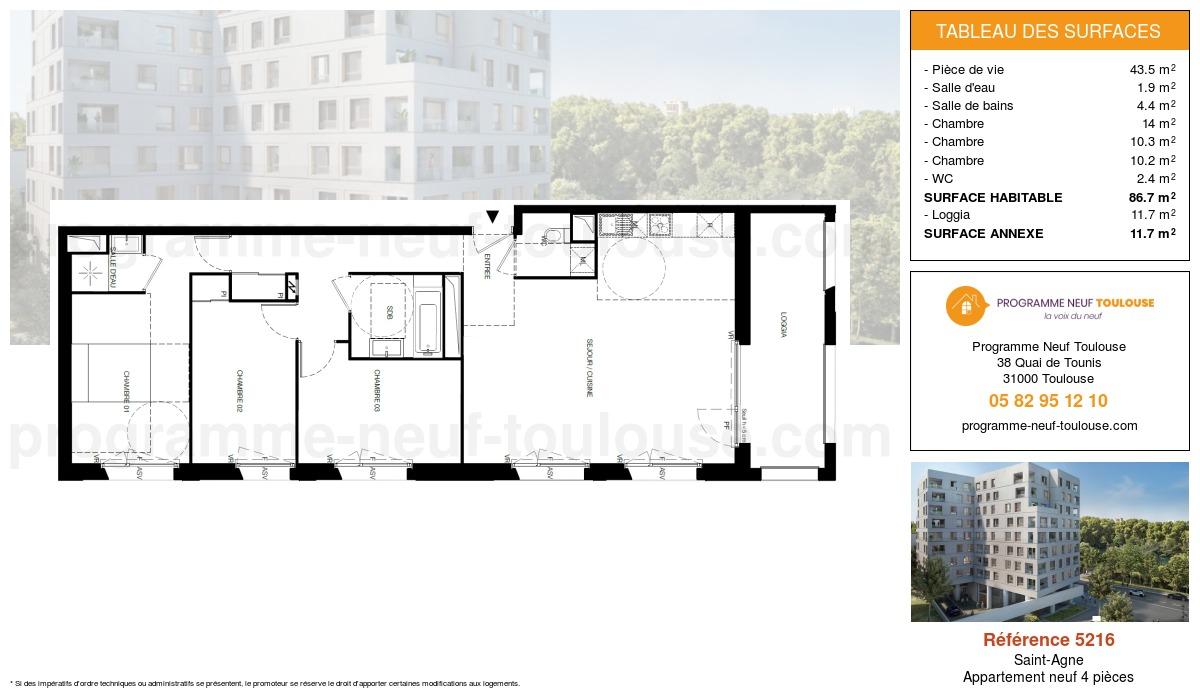 Plan pour un Appartement neuf de  86.7m² à Saint-Agne