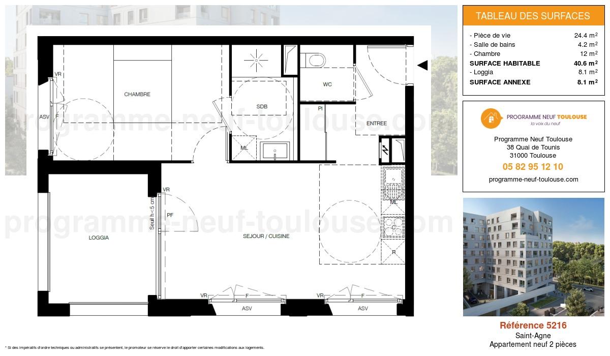 Plan pour un Appartement neuf de  42.4m² à Saint-Agne