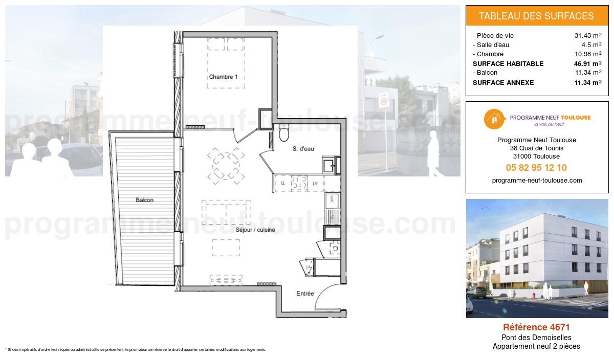 Plan pour un Appartement neuf de  46.91m² à Pont des Demoiselles
