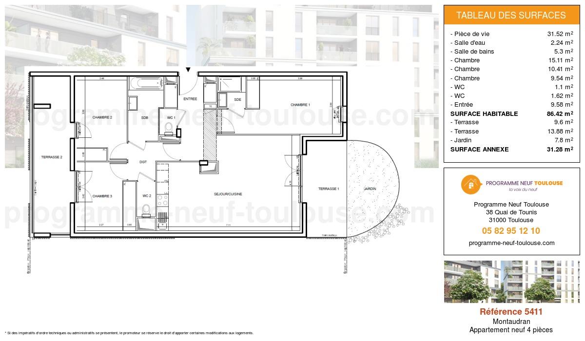 Plan pour un Appartement neuf de  86.42m² à Montaudran