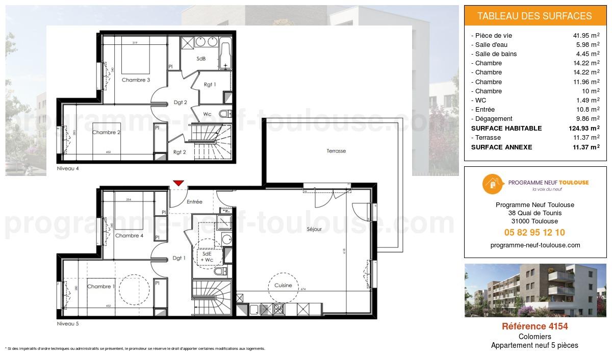 Plan pour un Appartement neuf de  124.93m² à Colomiers