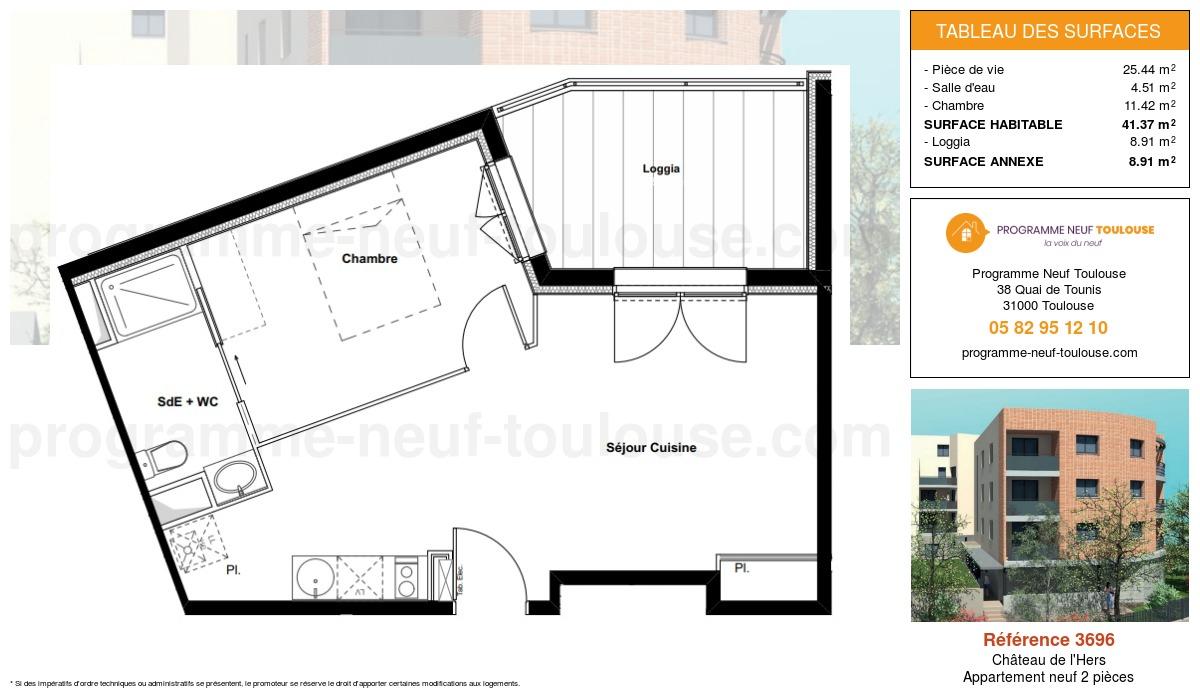 Plan pour un Appartement neuf de  41.37m² à Château de l'Hers