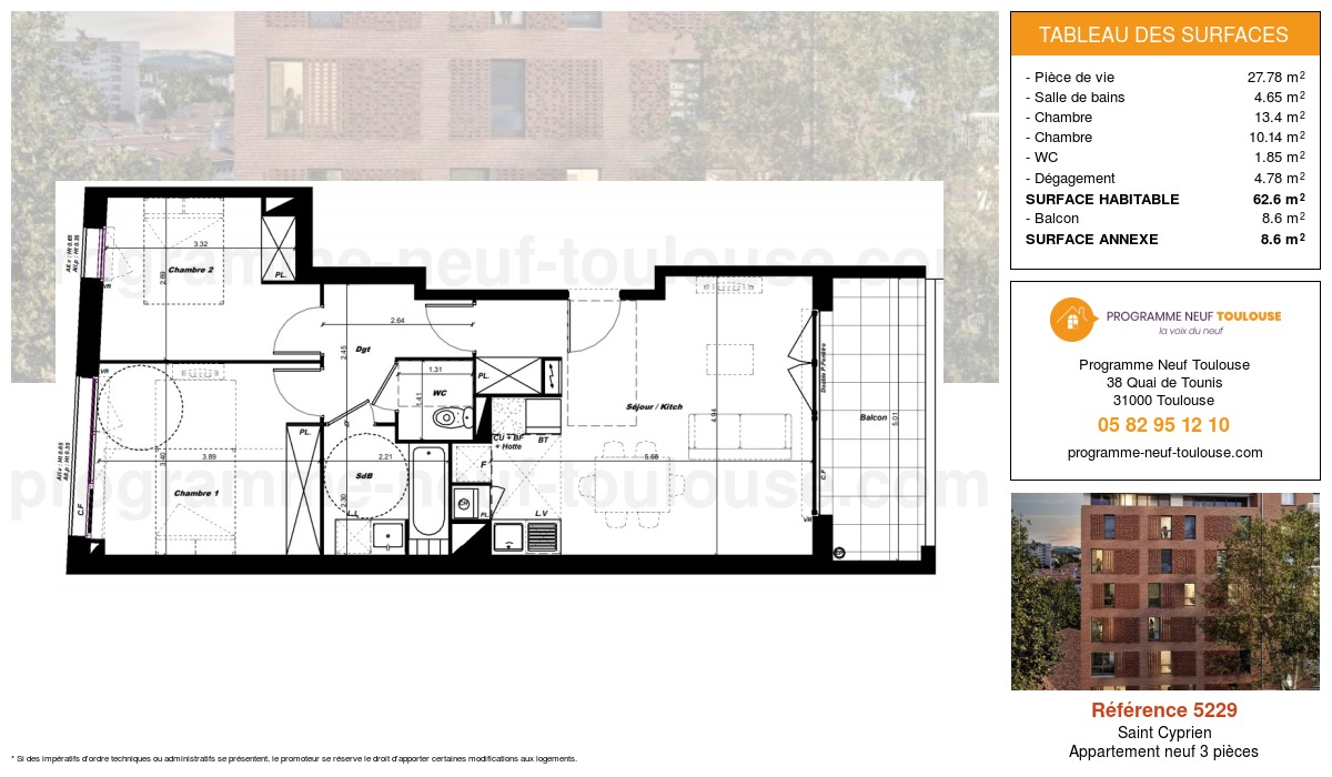 Plan pour un Appartement neuf de  62.6m² à Saint Cyprien