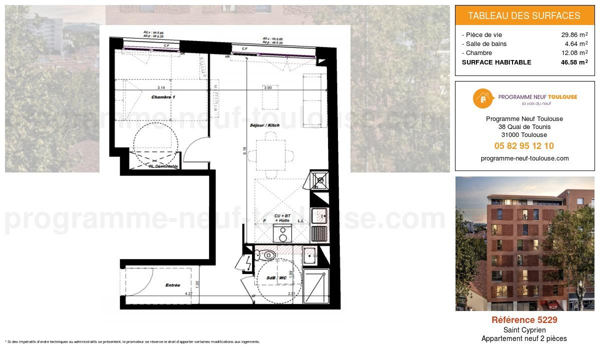 Plan pour un Appartement neuf de  46.58m² à Saint Cyprien
