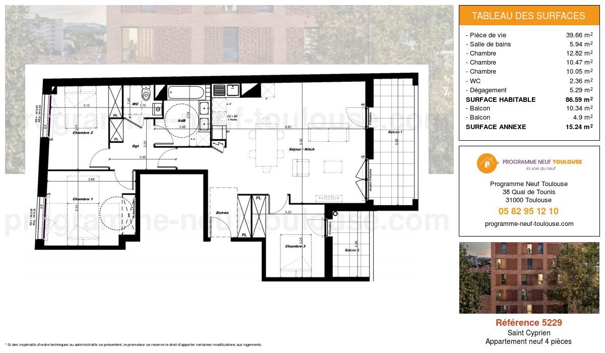 Plan pour un Appartement neuf de  86.59m² à Saint Cyprien