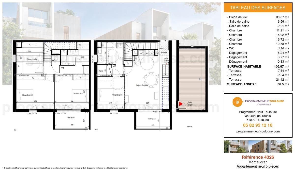 Plan pour un Appartement neuf de  108.87m² à Montaudran