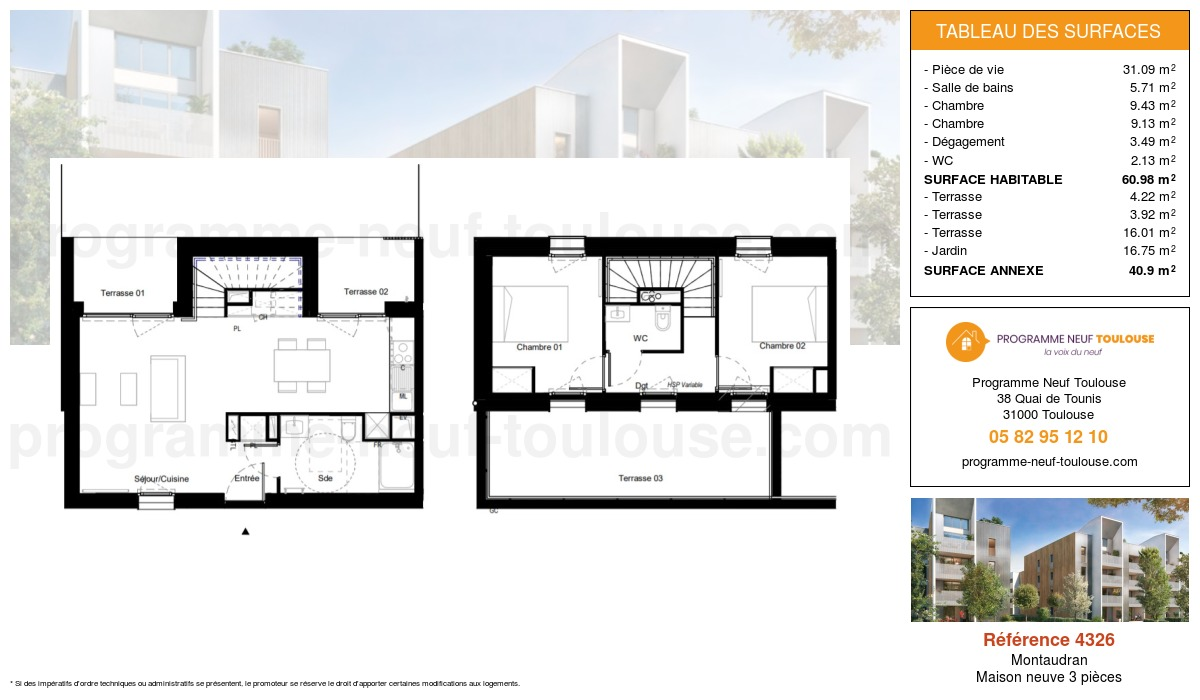 Plan pour un Maison neuve de  60.98m² à Montaudran