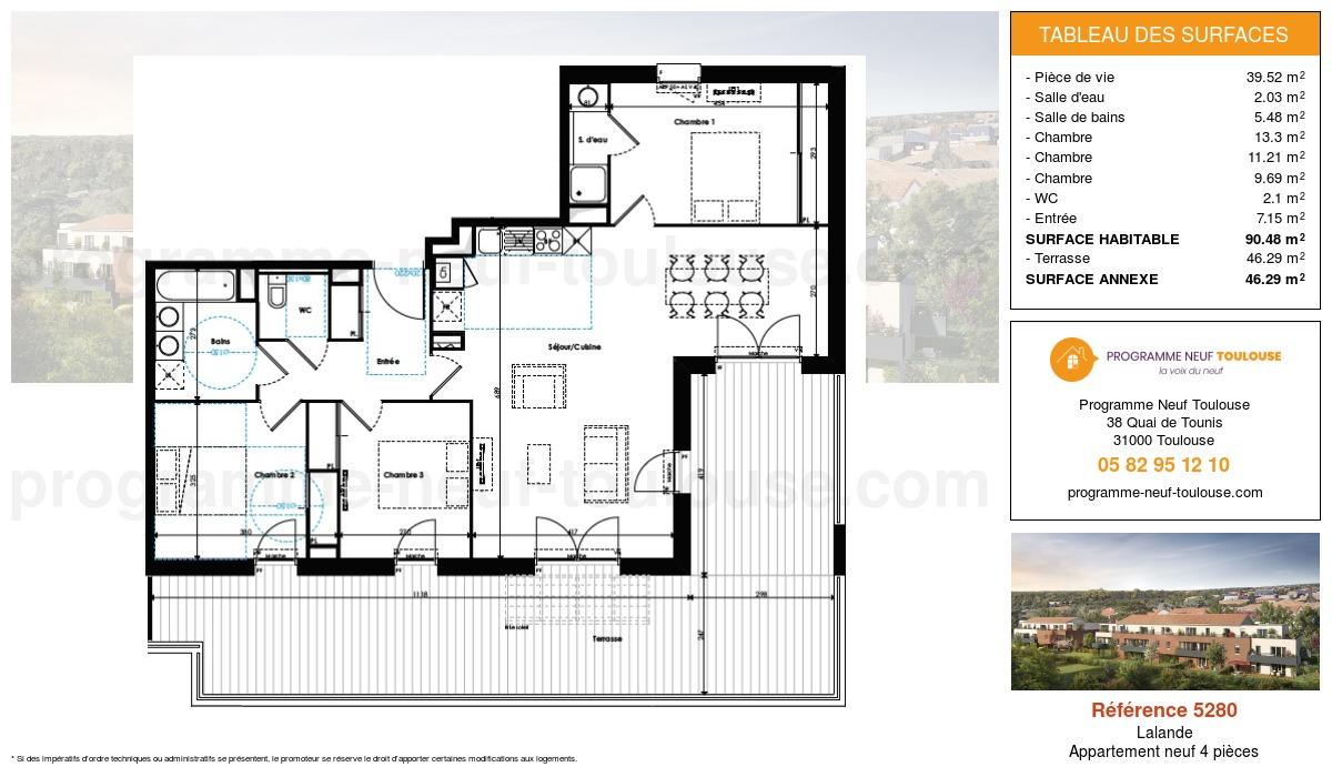 Plan pour un Appartement neuf de  90.48m² à Lalande