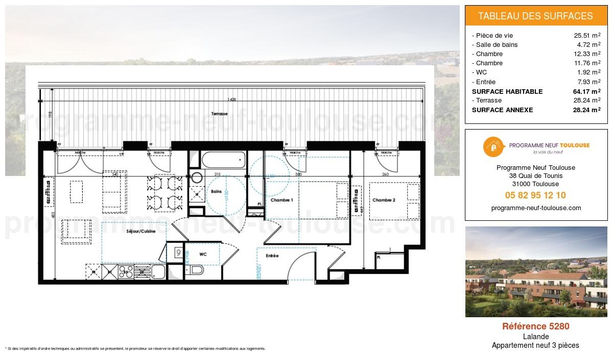 Plan pour un Appartement neuf de  64.17m² à Lalande