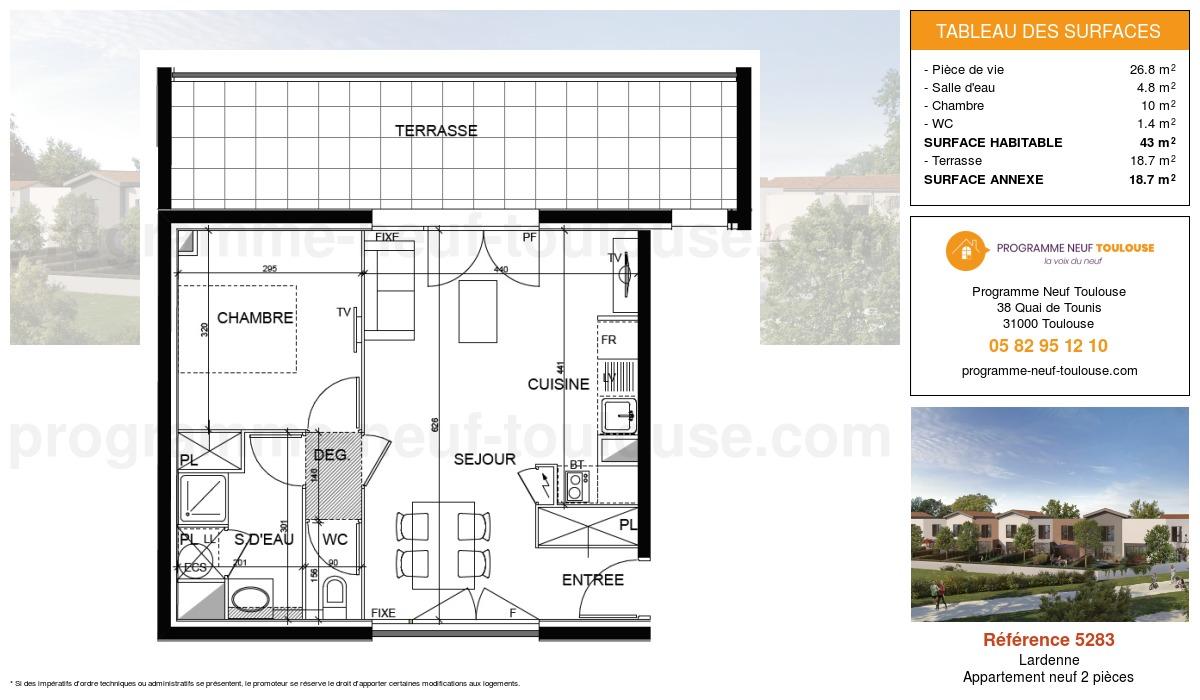 Plan pour un Appartement neuf de  44.3m² à Lardenne