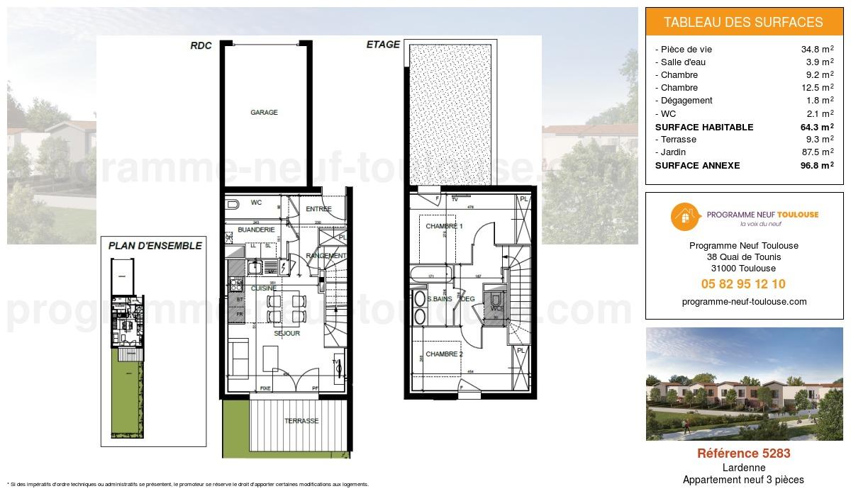 Plan pour un Appartement neuf de  64.3m² à Lardenne